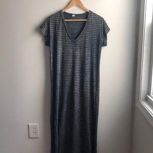 Dresses & Skirts - Blue black bleach distressed striped maxi dress